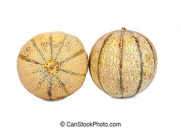 charentais, entero, dos, melones, galia