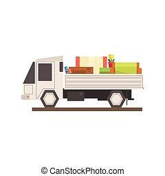 chargé, camion mouvement