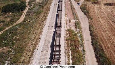 chargé, train traque, collé, rail, obtenu, railroad.