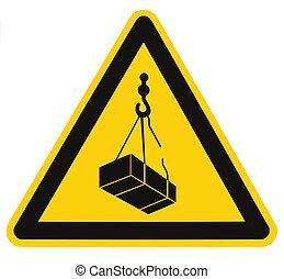 charge, cargaison, triangle, risque, signe danger, macro, sur, isolé, danger, grand, aérien, jaune, signage, closeup, grue, icône, tomber, noir