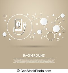 charge eco power, usb cable is connected to the phone icon on a brown background with elegant style and modern design infographic. Vector