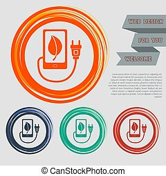 charge eco power, usb cable is connected to the phone icon on the red, blue, green, orange buttons for your website and design with space text. Vector