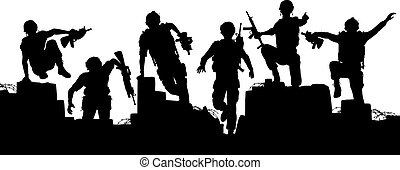 Charge - Editable vector silhouettes of armed soldiers...