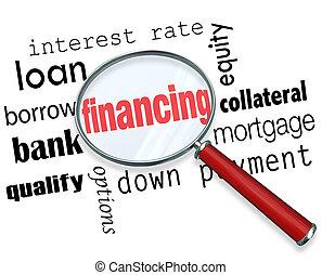 charge, financement, hypothèque, verre, mots, magnifier