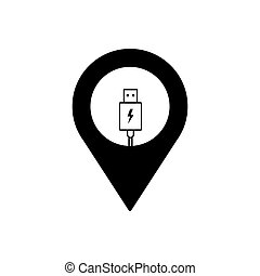 Charge geo tag outline icon. Symbol, logo illustration for mobile concept and web design.