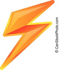 Charge lighting bolt icon, cartoon style
