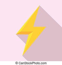 Charge lightning bolt icon, flat style