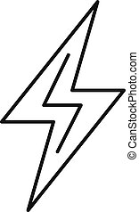Charge lightning bolt icon, outline style