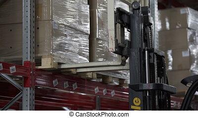 charge, moderne, camions, élévateur, boîtes, palettes, entrepôt, carton