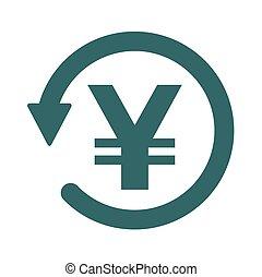 Chargeback icon symbol, return money isolated on white...