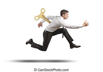 Charged businessman - Concept of charged and full of energy...