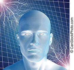 Charged - Man surreal with electricty