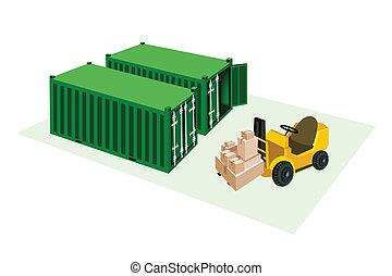 chargement, élévateur, expédition, boîtes, camion, fret, récipients