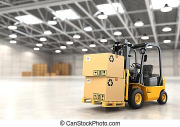 chargement, élévateur, stockage, boxes., camion, entrepôt, ...