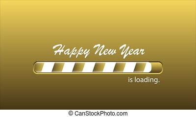 chargement, année, nouveau, barre