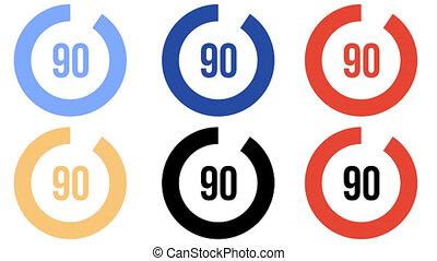 chargement, barre, couleur, compteur, -, six, progrès, options, circulaire