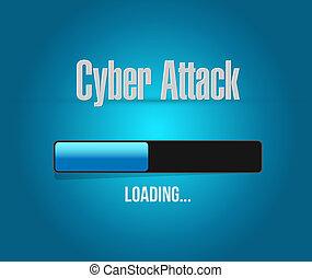 chargement, barre,  Cyber, signe, attaque,  concept