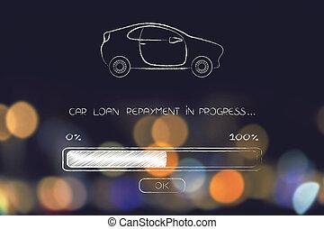 chargement, barre, prêt voiture, remboursement, progrès