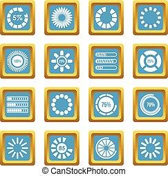 chargement, barres, et, preloaders, icônes, azur
