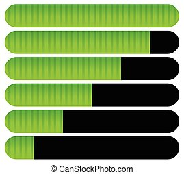 chargement, barres, indicators., progrès, barres., horizontal, completion.