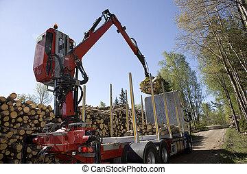 chargement, bois construction