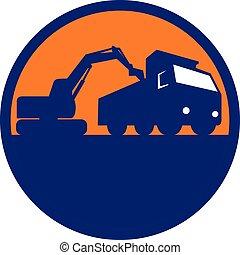 chargement, camion décharge, retro, mécanique, cercle, excavateur