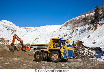 chargement, camion, excavateur, décharge