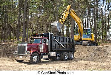 chargement, camion, excavateur