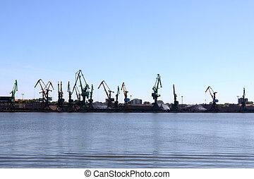 chargement, commercial, terminal, charbon, port mer, vue