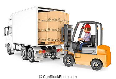 chargement, conduite, élévateur, ouvrier, camion, 3d