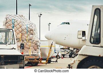chargement, de, les, avion cargaison