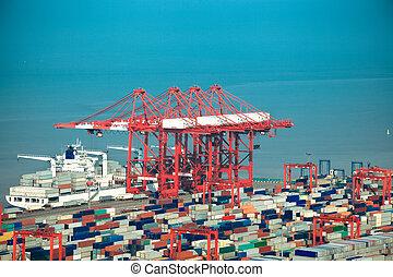 chargement, navire porte-conteneurs