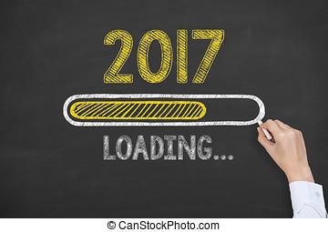 chargement, nouvel an, 2017, sur, tableau noir