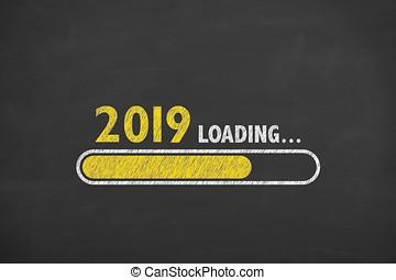 chargement, nouvel an, 2019, sur, tableau noir