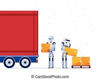 chargement, ouvriers, robot, boxes., camion, entrepôt