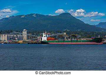 chargement, port maritime, bateau, sous
