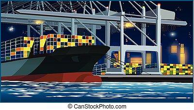 chargement, port, récipients, nuit