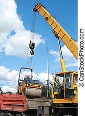 chargement, transport, machine, compacteur, utilisation, grue