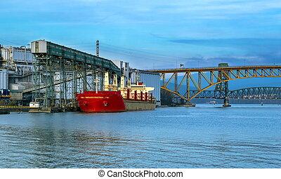 chargement, vancouver, bateau, port, sous, mer