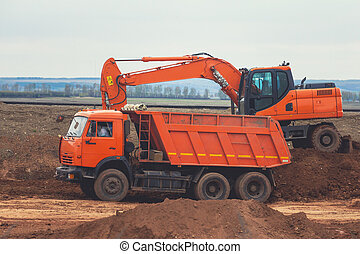 chargement, wxcavator, construction, camion, rouges, dumper, route