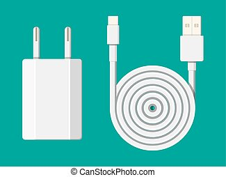 Charger adapter and cable. The device for charging...