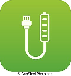 Charger icon digital green for any design isolated on white...