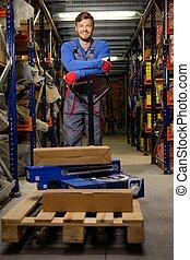 chargeur, pallet camion, entrepôt, utilisation, main