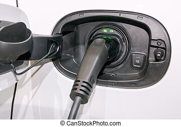 Charging an electric car.