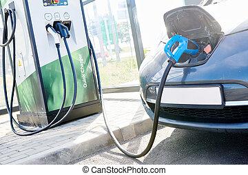 charging., autó, ökológiai, elektromos, autó