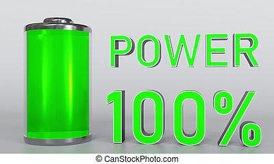 Charging battery indicator 3D rendering