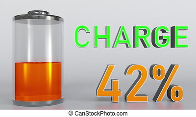 Charging battery indicator - Charging battery animation, 3D...