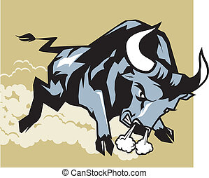 An angry bull charging and leaving a cloud of dust