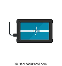 Charging device icon, flat style