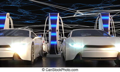Charging electric vehicles in the parking lot. Neon rays create a charging electric field. High quality 4k footage
